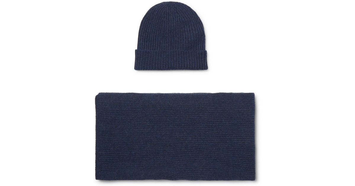 Lyst - William Lockie Ribbed Cashmere Beanie And Scarf Set in Blue for Men 7606431cc7c