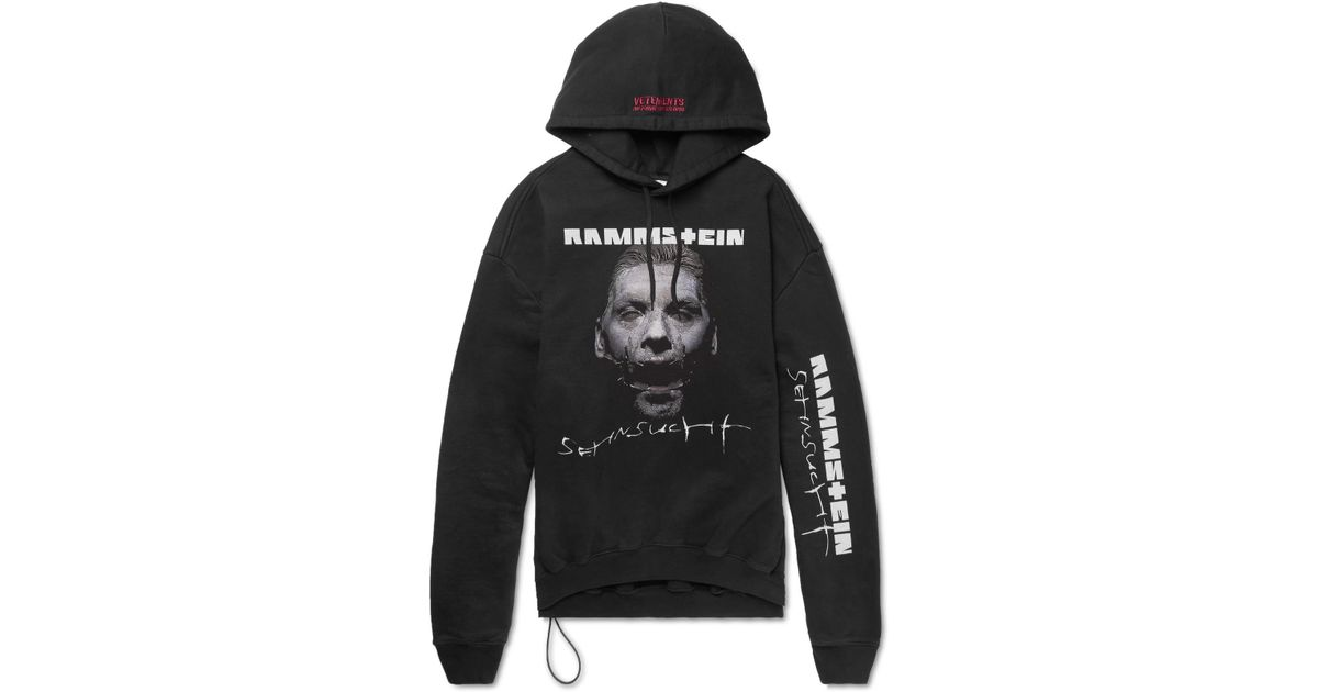f4d9bf41dc Lyst - Vetements + Rammstein Oversized Printed Cotton-blend Jersey Hoodie  in Black for Men