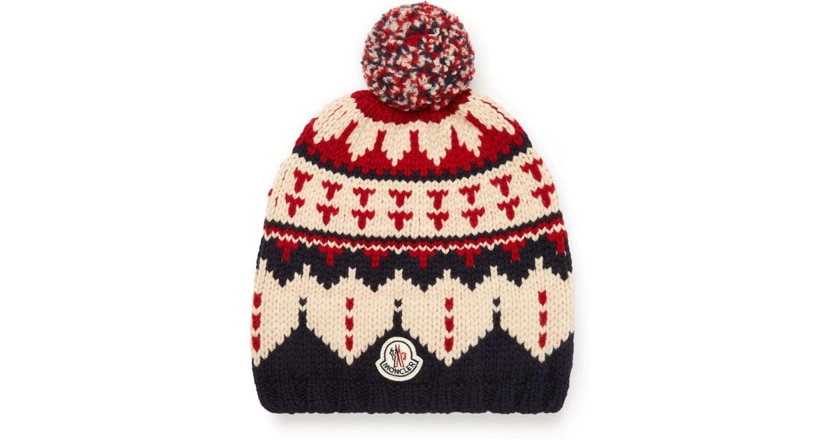 71e1917a0 Moncler Blue Fair Isle Virgin Wool Bobble Hat for men