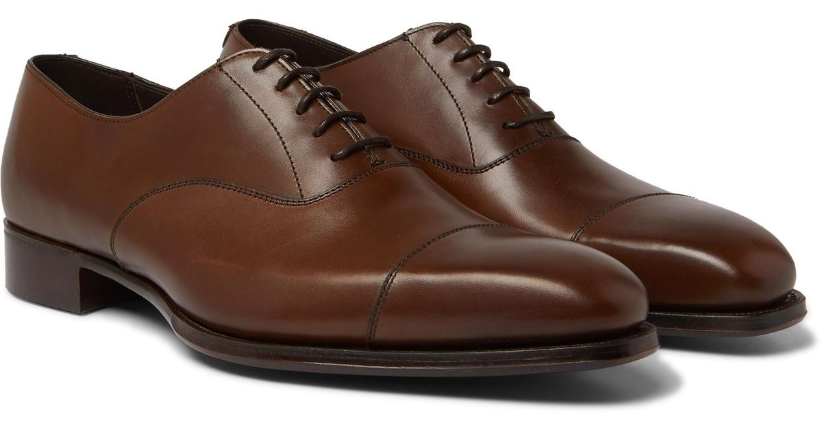 4f325b4fb89d63 Lyst - Kingsman + George Cleverley Harry Leather Oxford Shoes in Brown for  Men