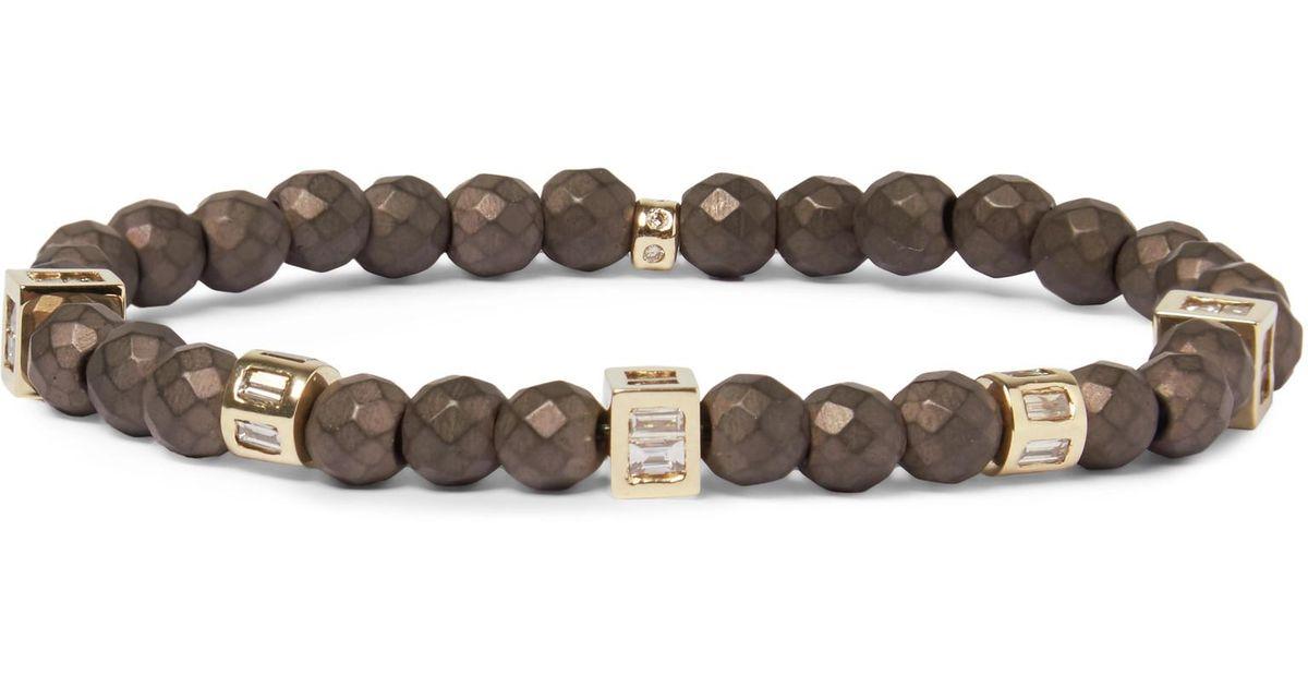 Beaded Hematite, 14-karat Gold And Diamond Bracelet Luis Morais