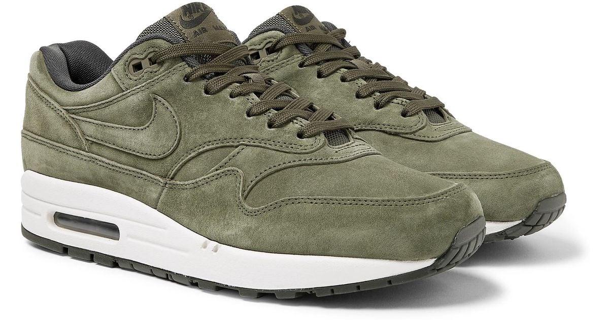 Nike Air Max 1 Premium Suede Sneakers in Green for Men - Lyst
