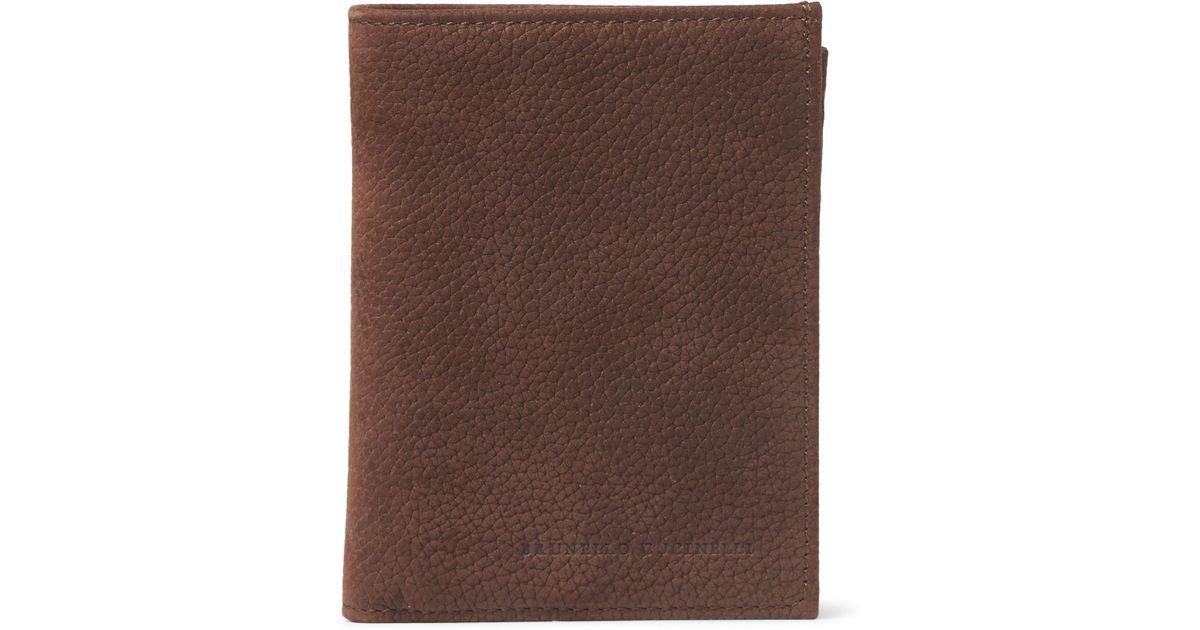 Professional Online Brunello Cucinelli Logo-debossed bi-fold leather wallet Cheap The Cheapest rDlAi