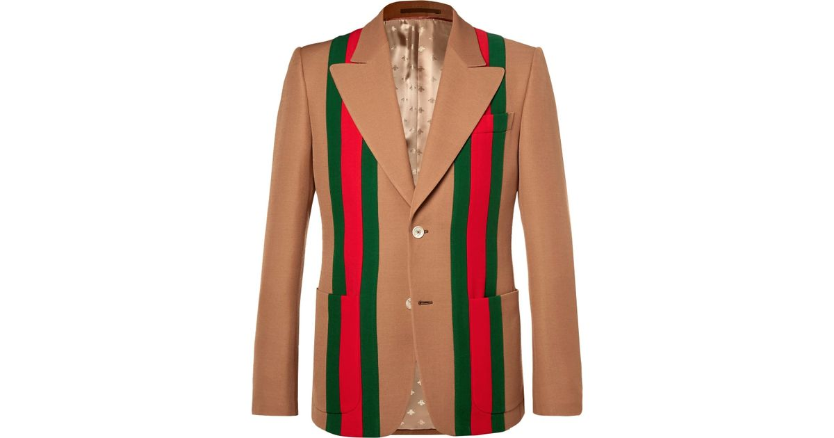 f60bd00dce2 Gucci Camel Striped Wool And Silk-blend Crepe Suit Jacket in Red for Men -  Lyst