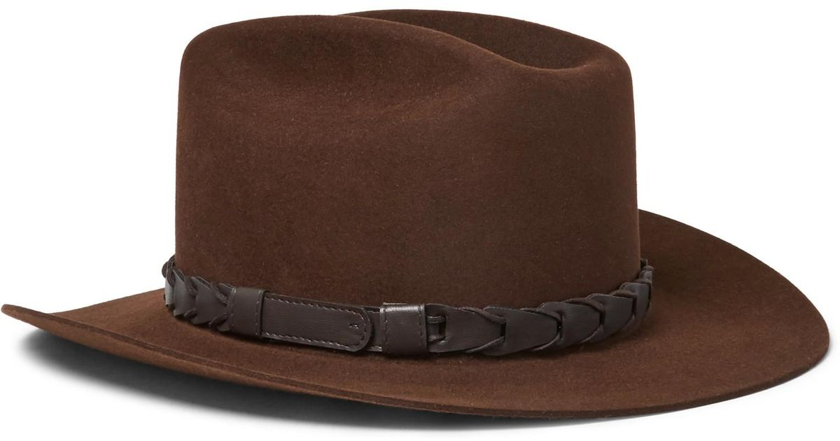 a6fd3784669 Lyst - Kingsman + Stetson Jack s Statesman Leather-trimmed Felt Hat in  Brown for Men