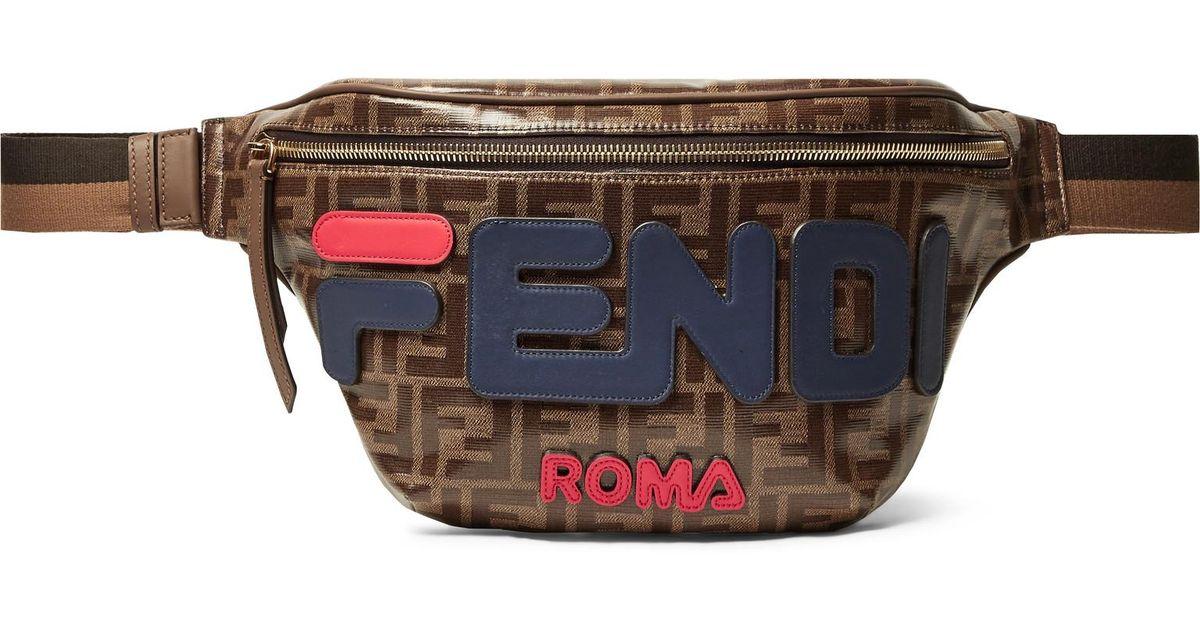 060d70852 Fendi Leather-trimmed Logo-appliquéd Printed Coated-canvas Belt Bag in  Brown for Men - Lyst