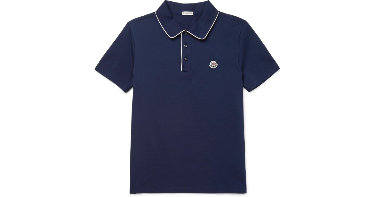 Contrast-tipped Cotton-piqué Polo Shirt Moncler Cheap Authentic Outlet cgaVMmyt7