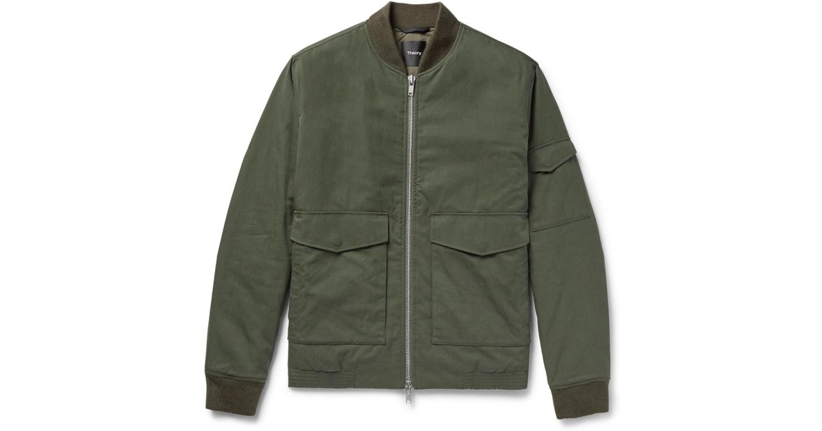 7640818d Theory Kerby Cotton-blend Canvas Bomber Jacket in Green for Men - Lyst