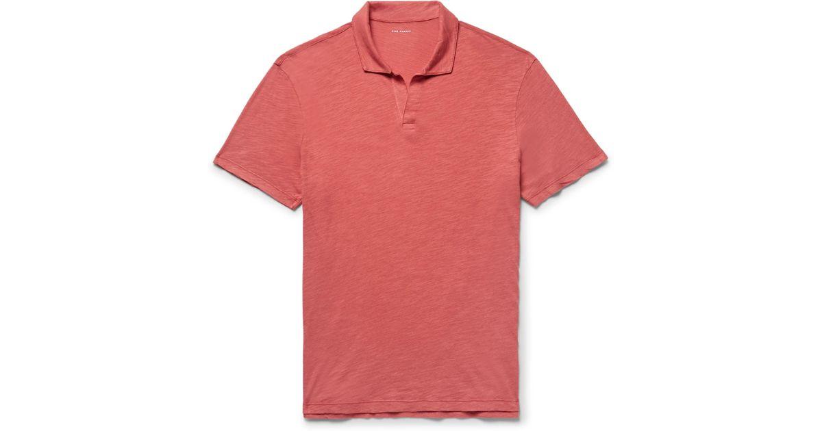 CLUB MONACO Slim-fit Slub Cotton-jersey Polo Shirt - Red w5deWa4
