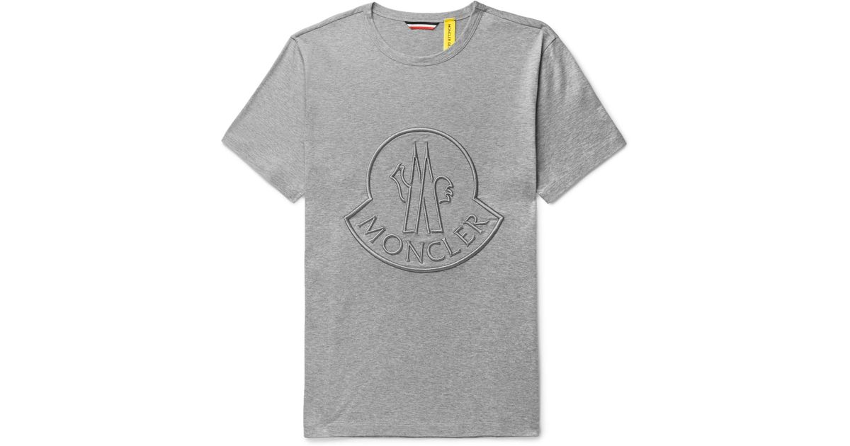 Moncler Genius Gray 2 Moncler 1952 Logo embroidered Cotton jersey T shirt for men
