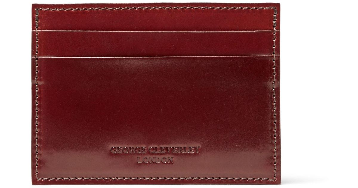 sports shoes 695ef 56d5c George Cleverley Red Horween Shell Cordovan Leather Cardholder for men