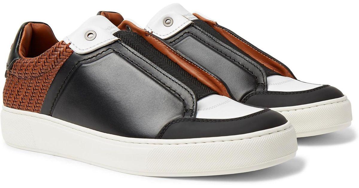 de1c1159 Ermenegildo Zegna Black Pelle Tessuta Leather Slip-on Sneakers for men