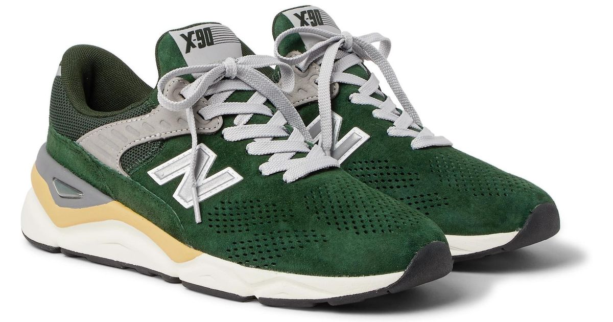 best cheap fashion style speical offer New Balance Green X90 Suede-trimmed Mesh Sneakers for men