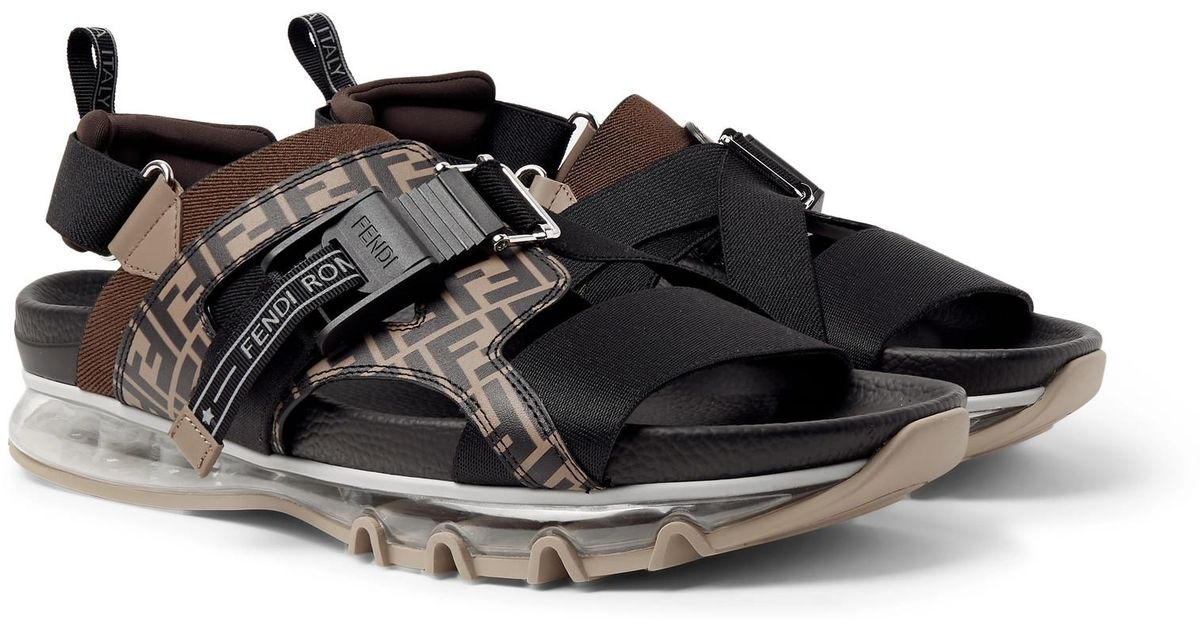 ffddee2a00c8 Fendi Logo-print Leather And Webbing Sandals in Brown for Men - Lyst