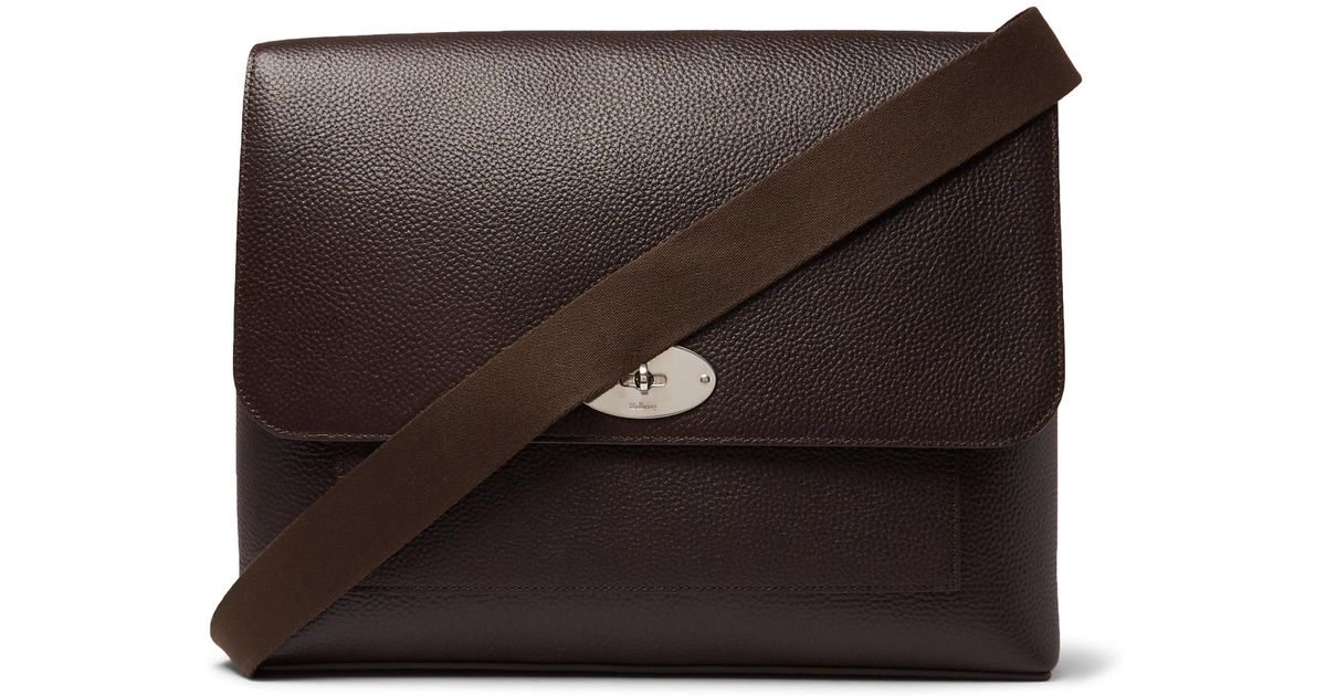 Mulberry East West Antony Padlock Pebble-grain Leather Messenger Bag in  Brown for Men - Lyst 0e34a47bd970f