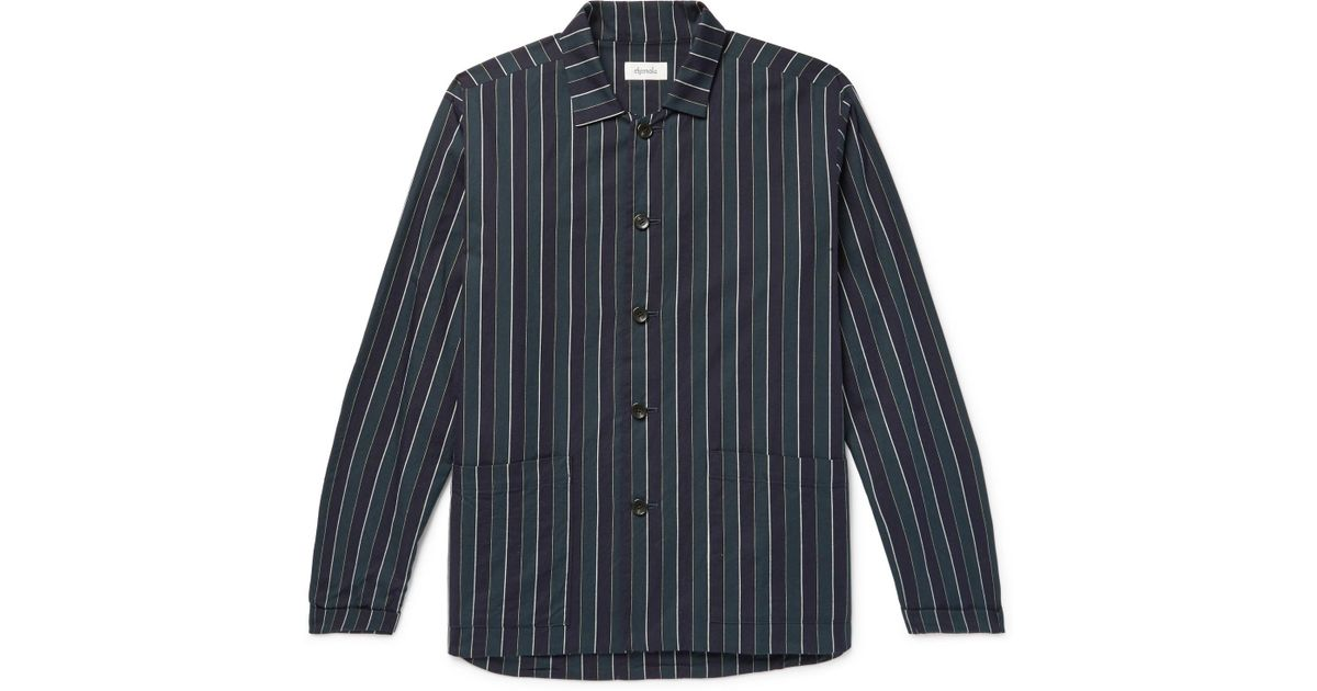 Chimala Overshirt Cotton Striped twill Navy 8W4gTxxYwq