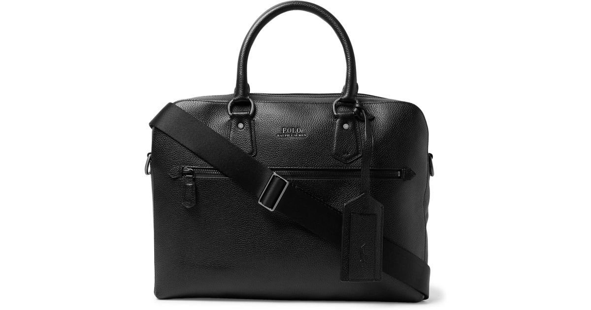 128243f122b3 Polo Ralph Lauren Pebble-grain Leather Briefcase in Black for Men - Lyst