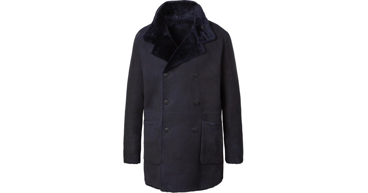 In Lyst Men Reversible Shearling Coat Giorgio Blue Armani For zqI877