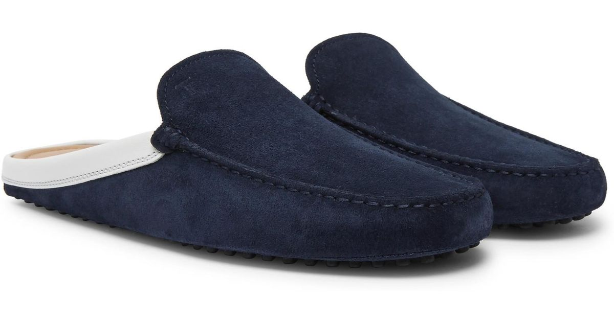 313d51d23ab Lyst - Tod s Leather-trimmed Suede Backless Loafers in Blue for Men
