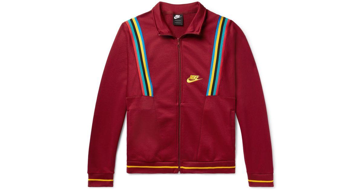 026da9a05 Nike Sportswear Loopback Cotton-blend Tech-jersey Track Jacket in Red for  Men - Lyst