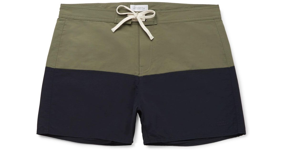 Saturdays NYC Ennis Short-length Colour-block Swim Shorts - Navy GZfYpaqR