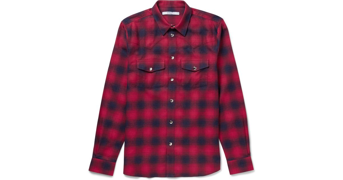 Givenchy slim fit checked cotton flannel western shirt in for Women s slim fit flannel shirt