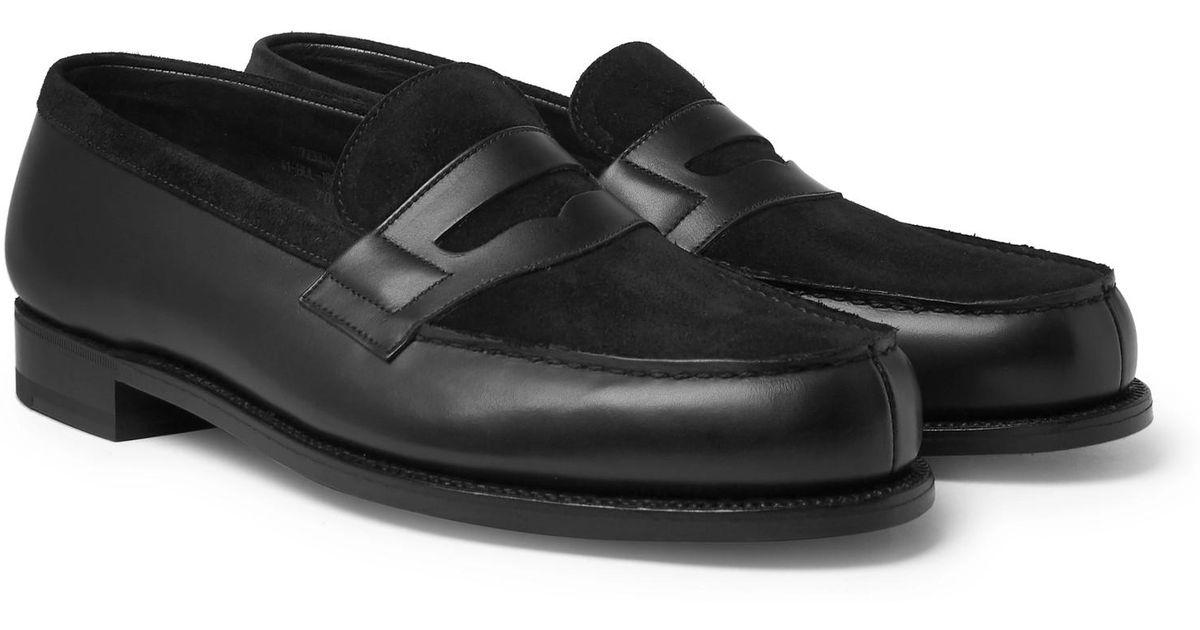 J.M. Weston Leather And Suede Penny Loafers - Black Best-seller De Sortie AaEuP8gJe