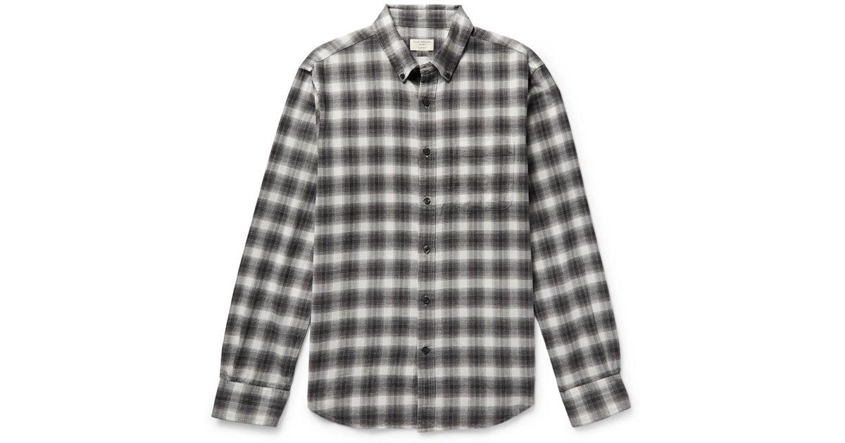 5ba5c2d6b53 Lyst - Club Monaco Button-down Collar Checked Cotton-flannel Shirt in Gray  for Men