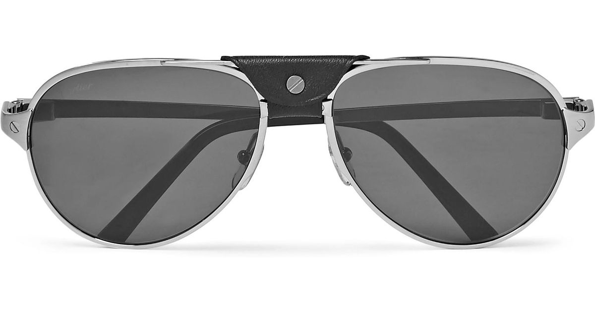 5a2765f3b2d Cartier Santos de Cartier sunglasses Source · Lyst Cartier Santos De Cartier  Aviator style Leather trimmed