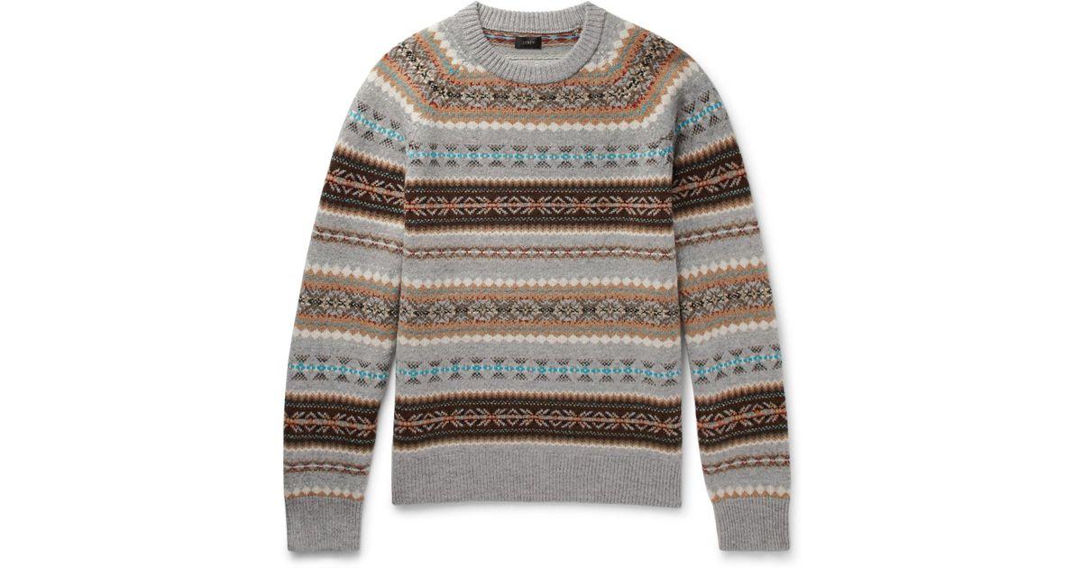 Lyst - J.crew Alta Fair Isle Wool Sweater in Gray for Men