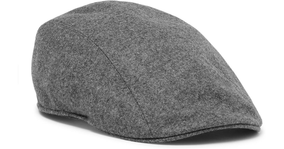 Lyst - Brunello Cucinelli Leather-trimmed Mélange Wool Flat Cap in Gray for  Men 9eb598c650a