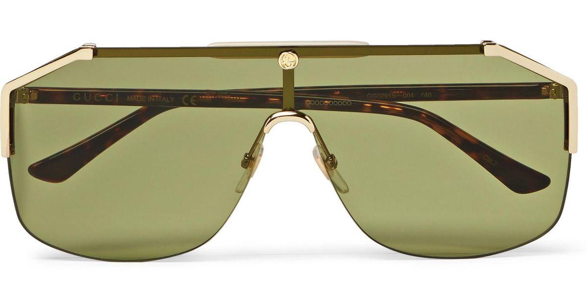 f8e63abb3113e Gucci Endura Oversized Aviator-style Gold-tone And Tortoiseshell Acetate  Sunglasses in Metallic for Men - Lyst