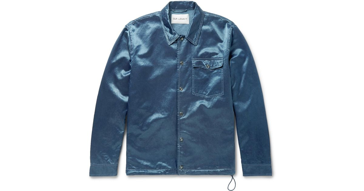 67ff772e4bdaa Our Legacy Cotton-blend Satin Coach Jacket in Blue for Men - Lyst