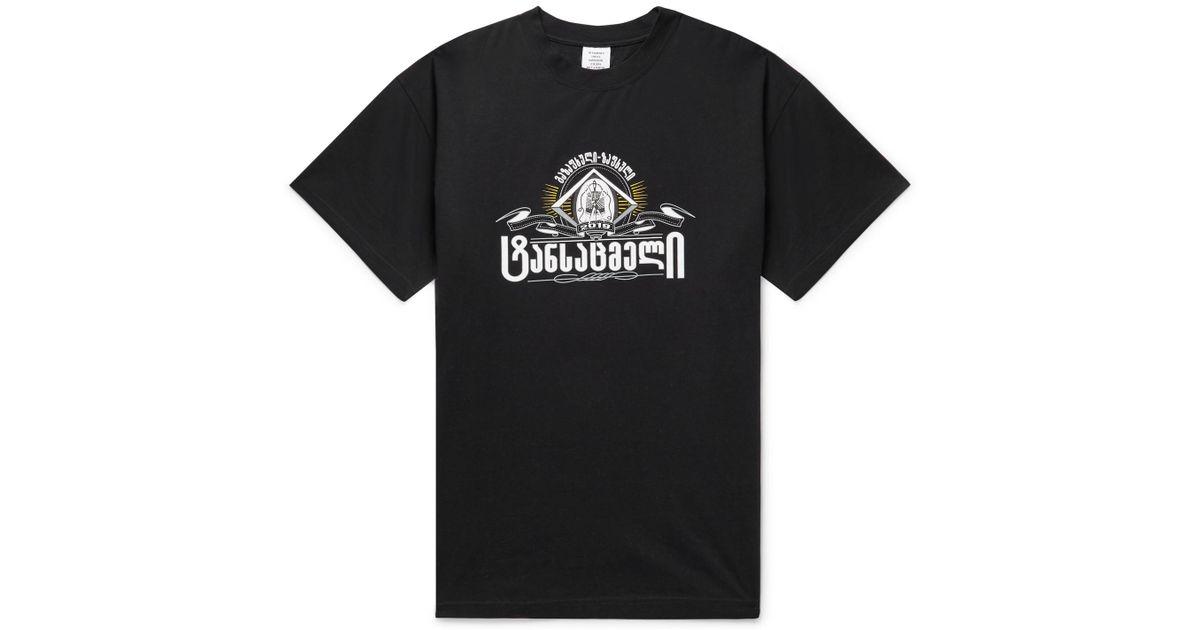 en de camiseta hombres algodón para estampado negro Vetements extragrande elástico Lyst qfAxt0wn