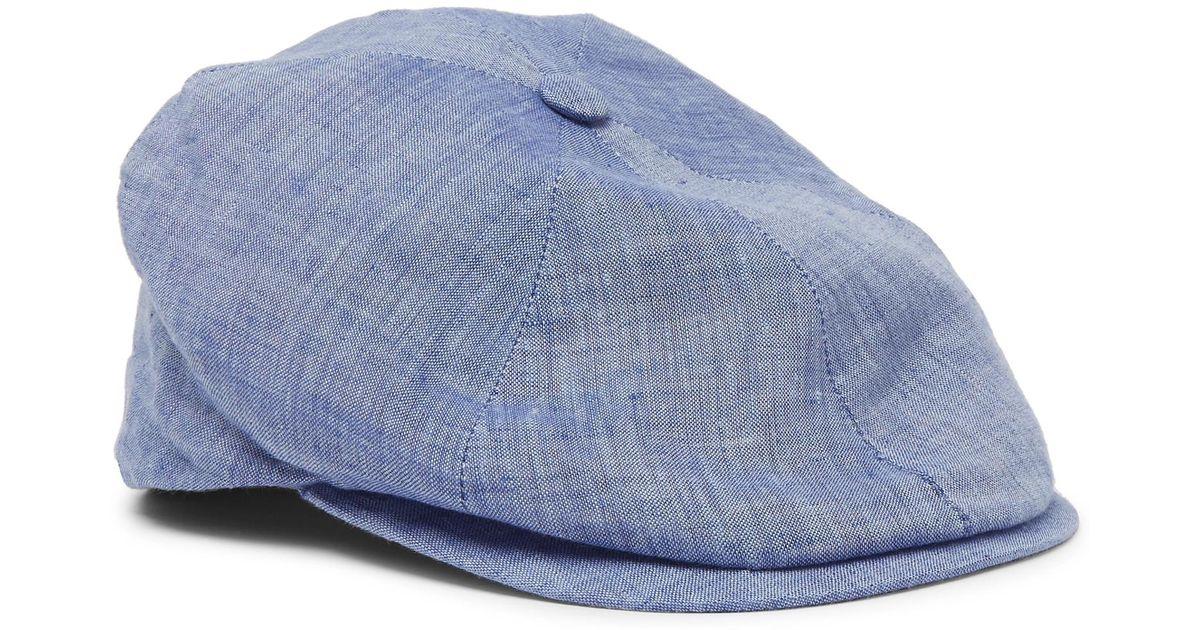 0880c45c1 Lock & Co Blue Reverb Linen-chambray Flat Cap for men