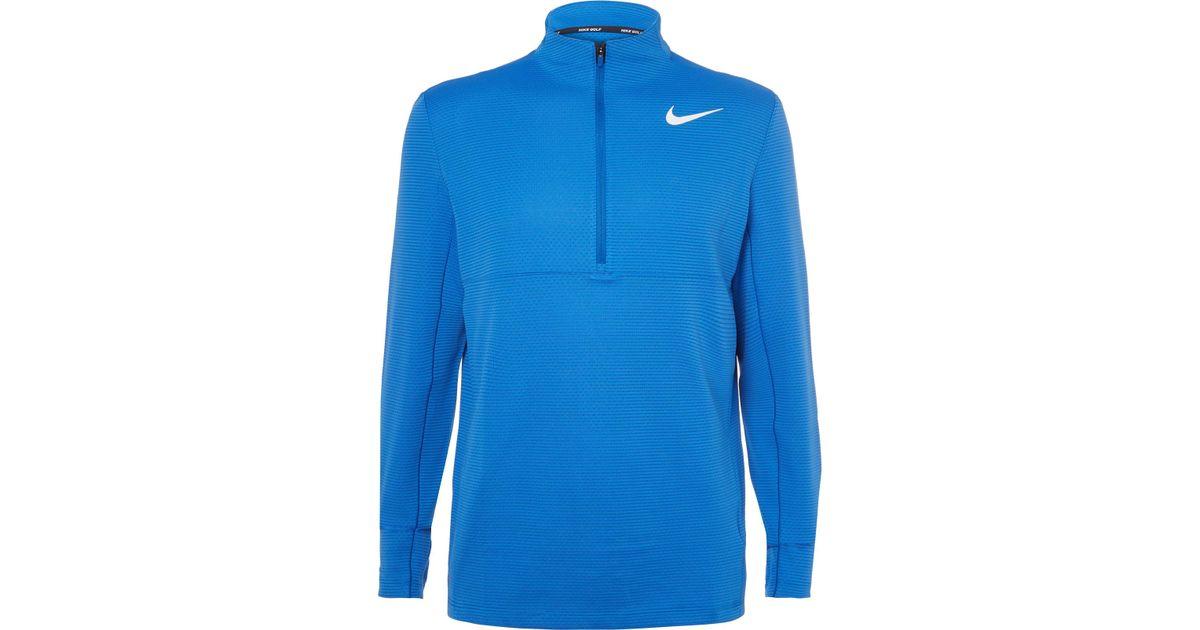 Nike Blue Aeroreact Slim-fit Stretch-knit Half-zip Golf Top for men