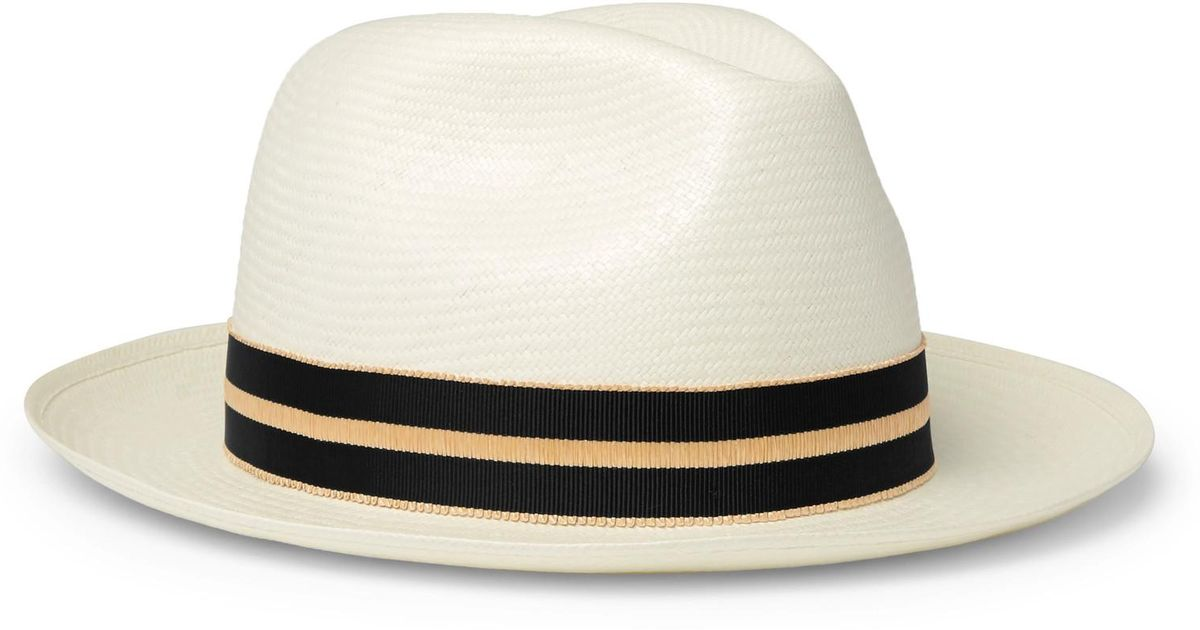86cbc6f7c28ca4 Lyst - Borsalino Grosgrain-trimmed Straw Panama Hat in Natural for Men