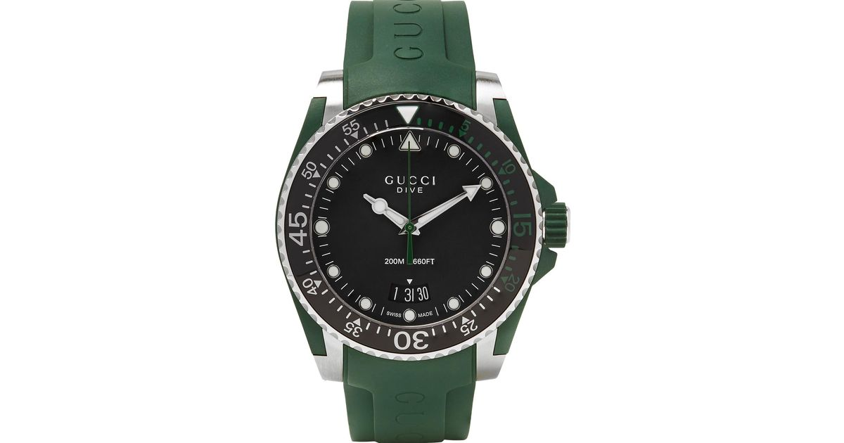 Gucci dive 40mm stainless steel and rubber watch in green - 40mm dive watch ...