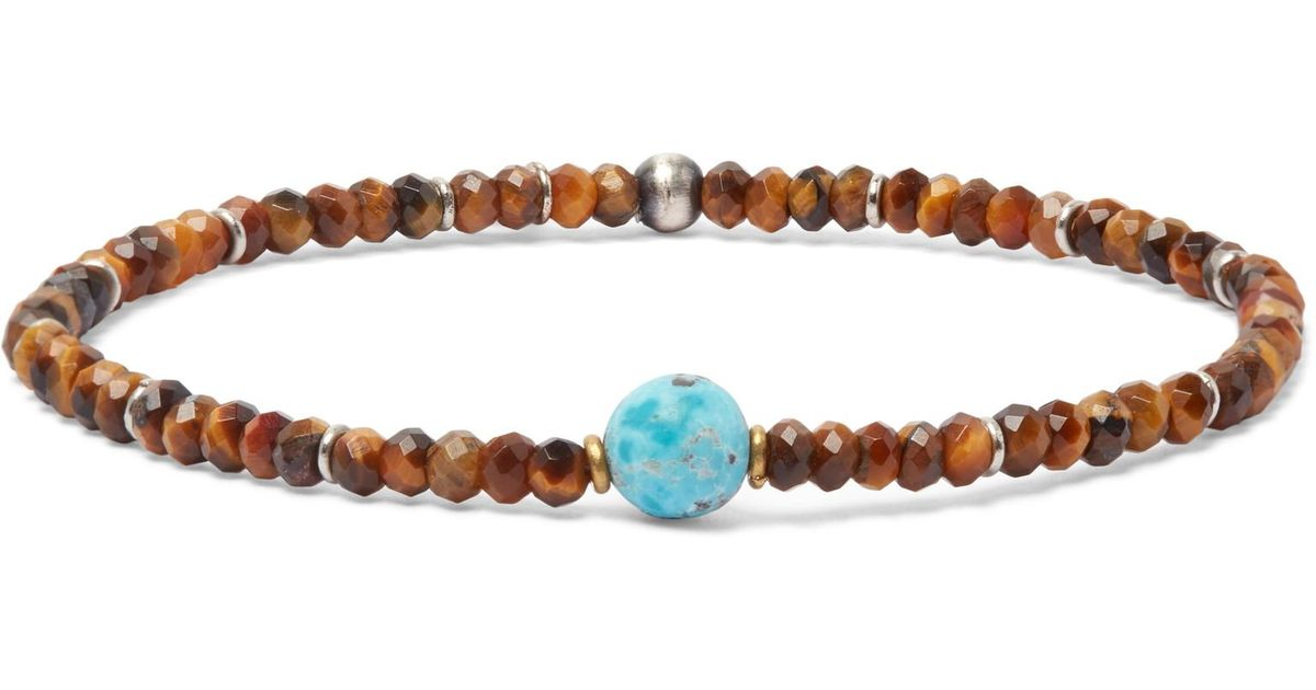 Caputo & Co. Mens Tigers Eye Bead & Sterling Silver Chain Necklace RmaxRBMj7