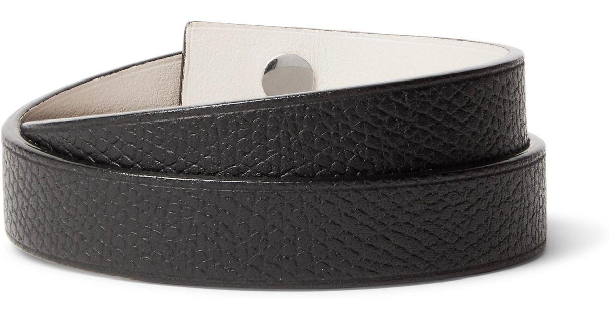 Valextra Pebble-grain Leather Wrap Bracelet - Black fnmoqhFG