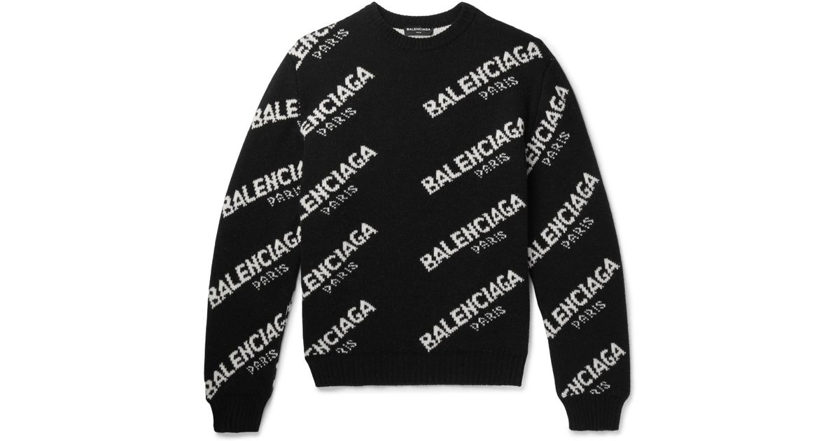 d00db0adedd Balenciaga Logo-intarsia Knitted Sweater in Black for Men - Save 22% - Lyst