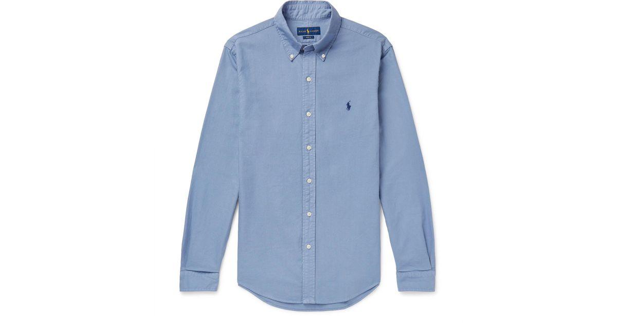 219d7f0d263 Lyst - Polo Ralph Lauren Slim-fit Button-down Collar Garment-dyed Cotton  Oxford Shirt in Blue for Men