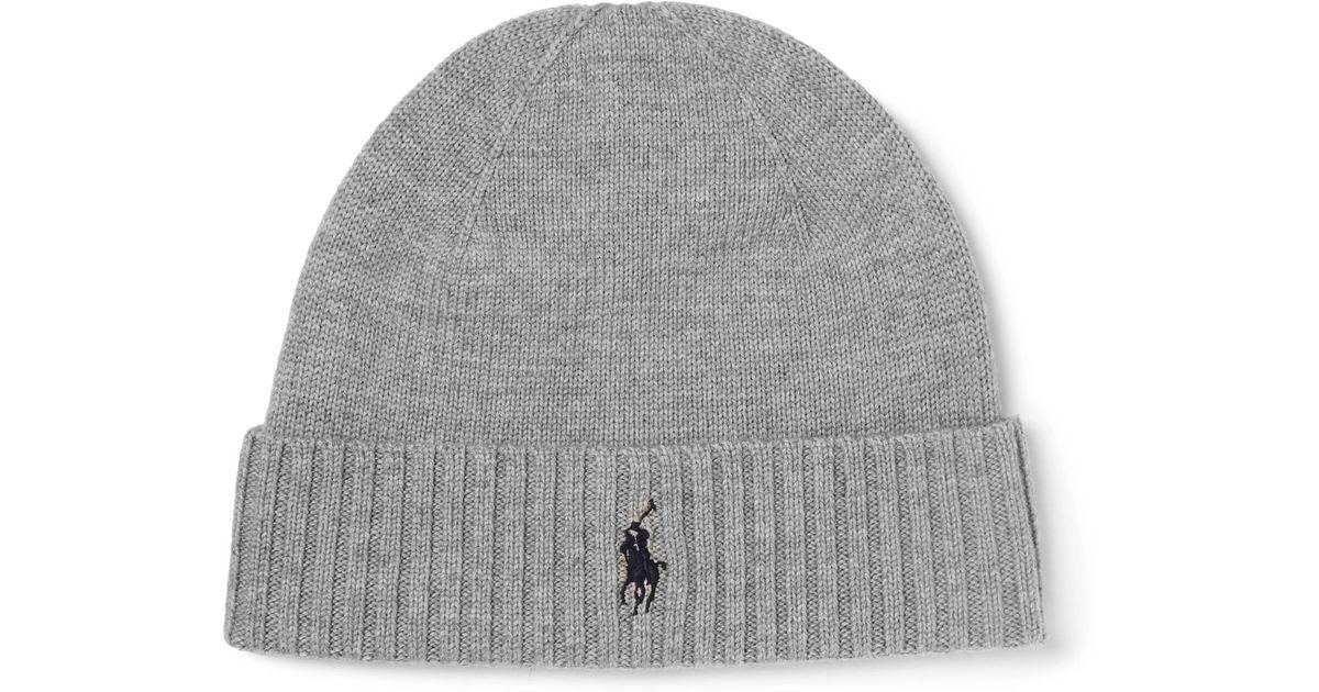 825604abb97 Polo Ralph Lauren Ribbed Merino Wool Beanie in Gray for Men - Lyst