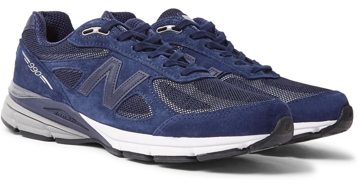 quality design 2a867 38fc8 New Balance Blue 990v4 Suede And Mesh Sneakers for men