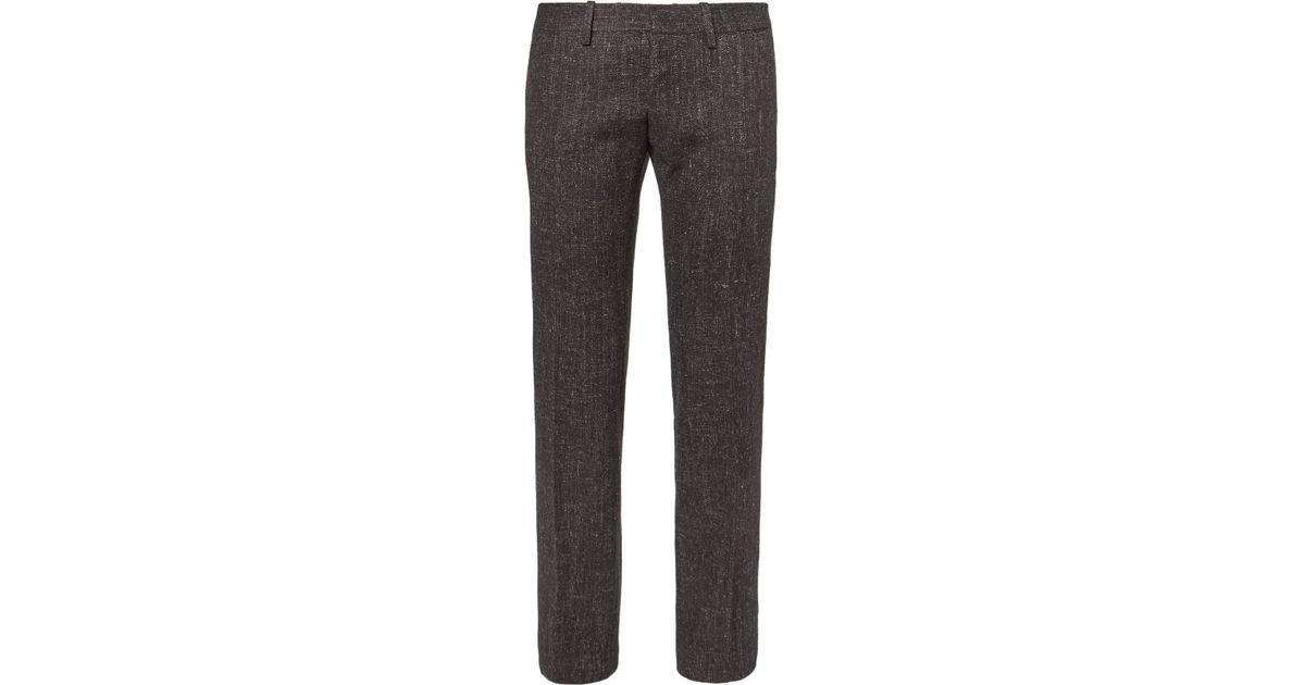 top brands new lower prices discount Balenciaga Brown Slim-fit Wool-blend Tweed Trousers for men