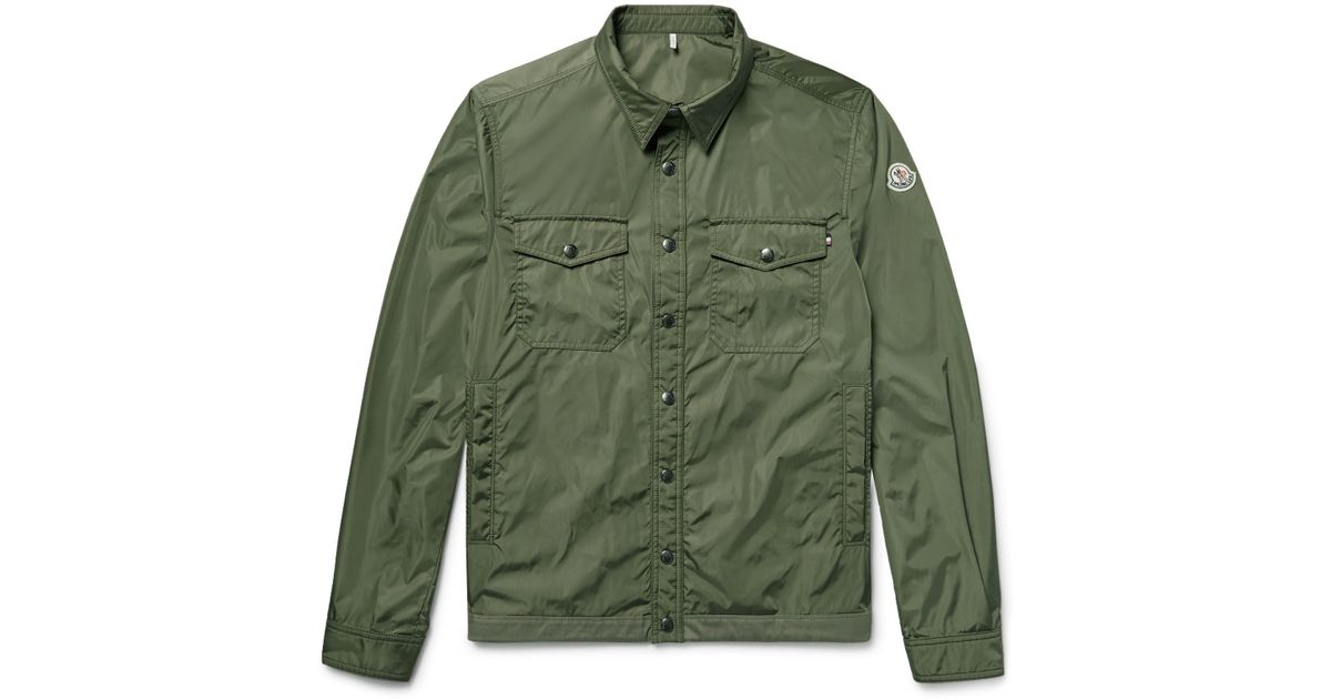 57f86d276 Moncler Green Triomphe Cotton-trimmed Nylon Shirt Jacket for men