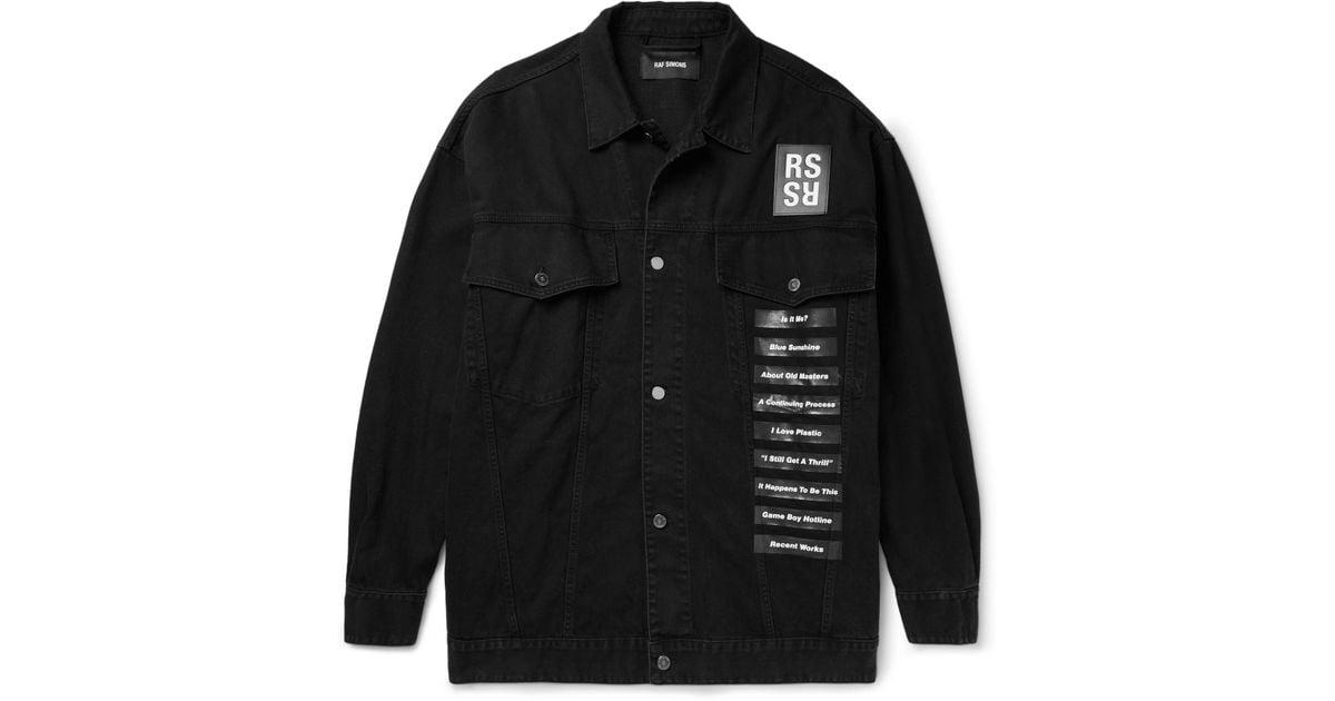 b0a03ef5740 Lyst - Raf Simons Oversized Printed Denim Jacket in Black for Men
