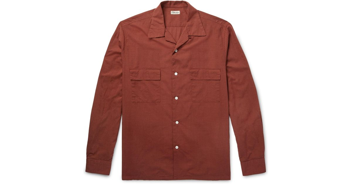 Buy Cheap Footlocker Grandad-collar Checked Ramie And Cotton-blend Shirt Camoshita Buy Cheap Get Authentic EvMrZ