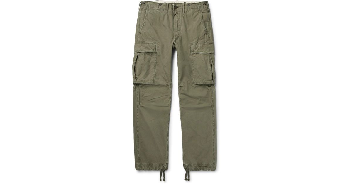 RRL Slim-fit Tapered Washed-cotton Cargo Trousers - Green pE3B6h