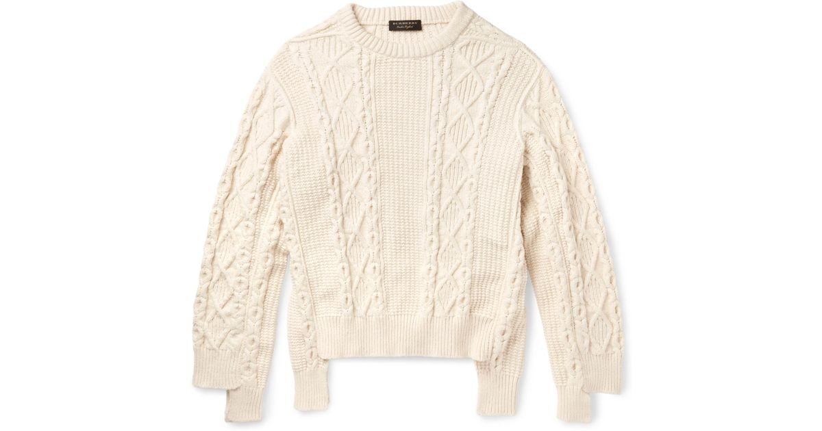 Lyst Burberry Runway Oversized Cable Knit Cotton Blend Sweater In